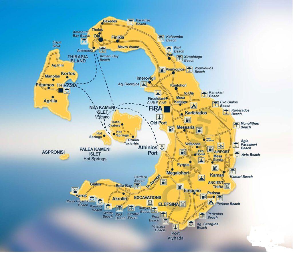 mapa de isla santorini