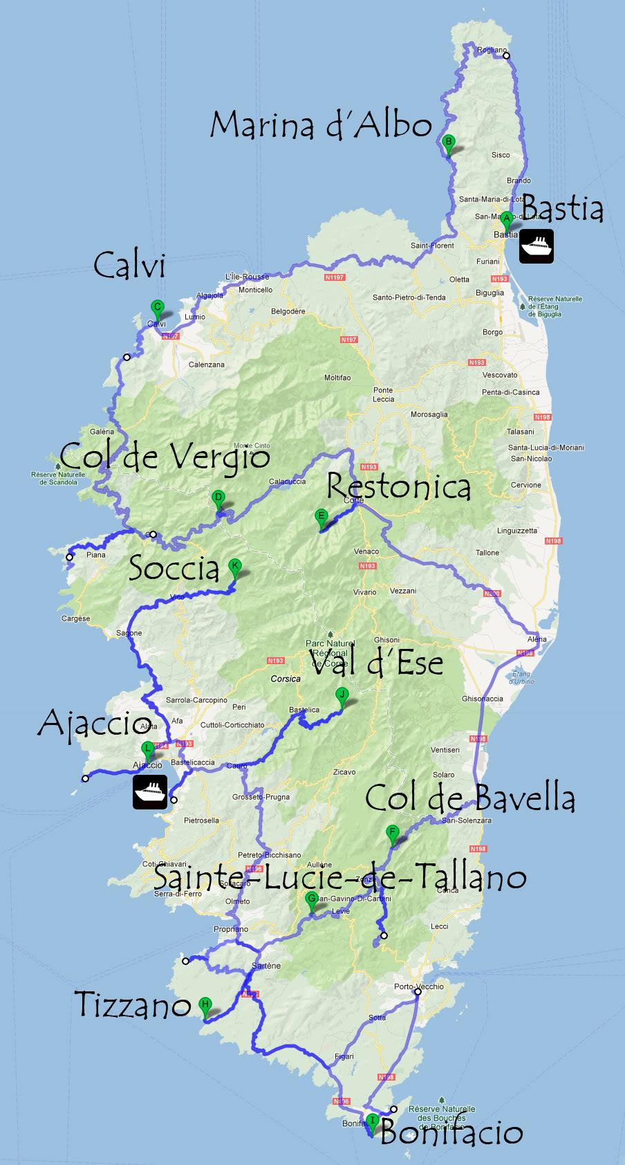 Mapa Corcega Y Cerdeña.Corcega Historia Clima Lugares Turisticos Playas