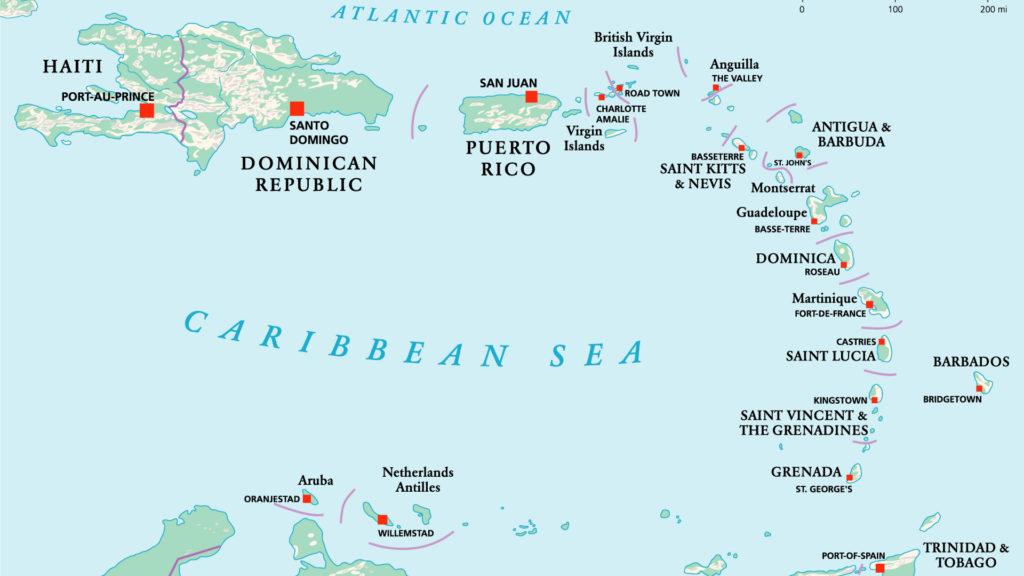 mapa de las Antillas mayores