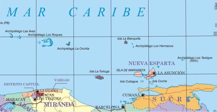 Mapa de lasdependencias federales deVenezuela