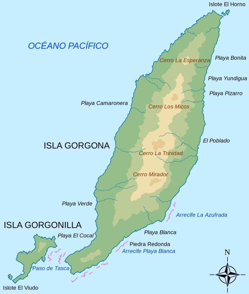 Mapa de isla gorgona