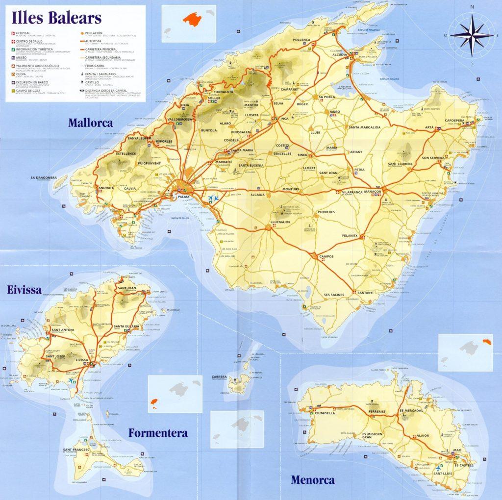 Mapa de islas baleares