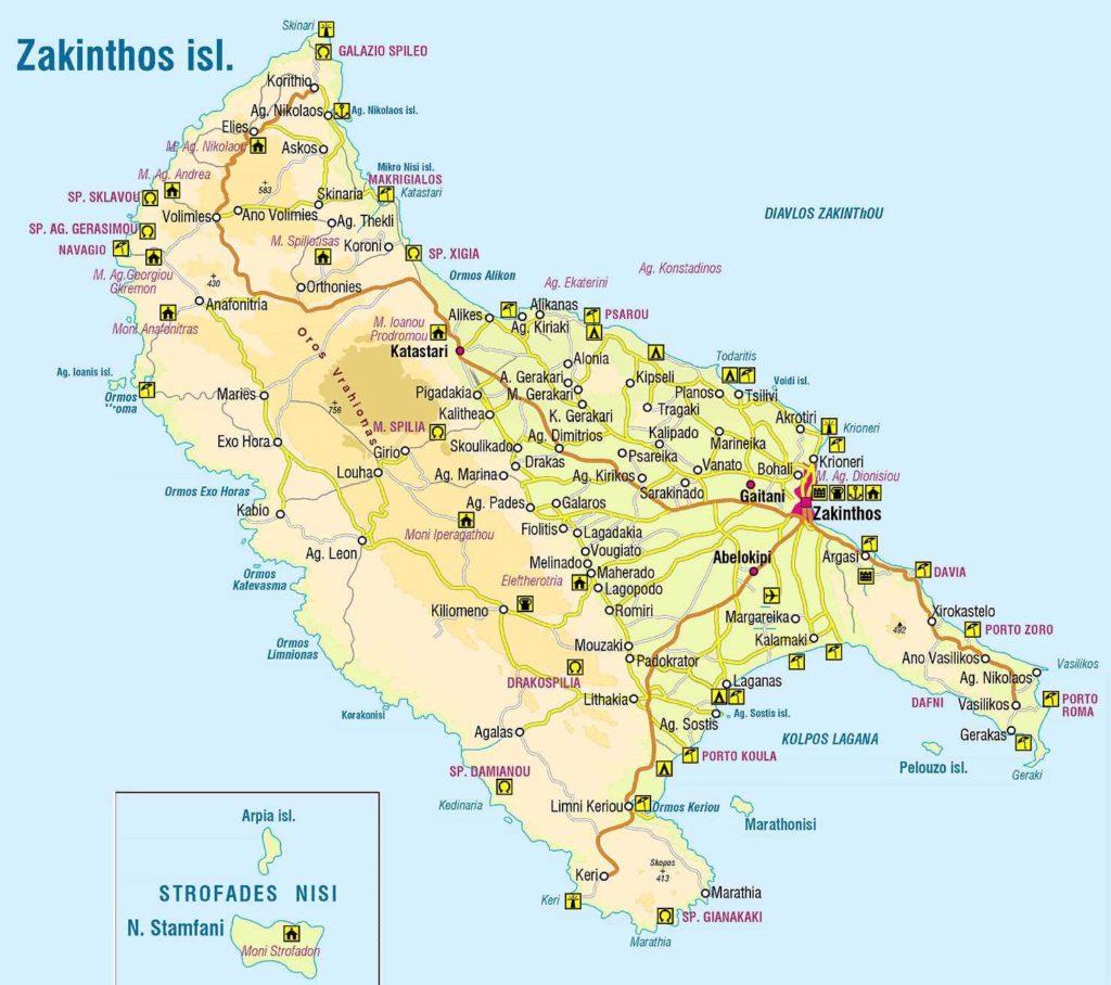mapa de la isla de zante